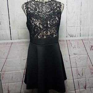 Trixxi Black Floral Laced Formal Dress